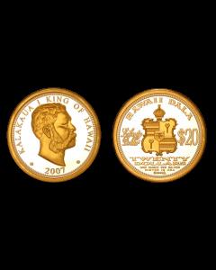 2007 KING KALAKAUA $20 HAWAII DALA WITH GOLD RELIEF