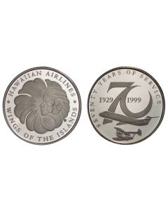 1999 HAWAIIAN AIRLINES 70TH ANNIVERSARY SILVER PROOF