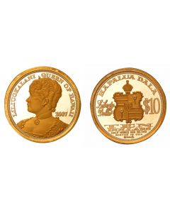 2007 QUEEN LILIUOKALANI $10 HAWAII DALA WITH GOLD RELIEF