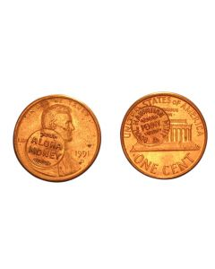 "1993 U.S. CENT COUNTER STAMPED WITH ""ALOHA MONEY"""